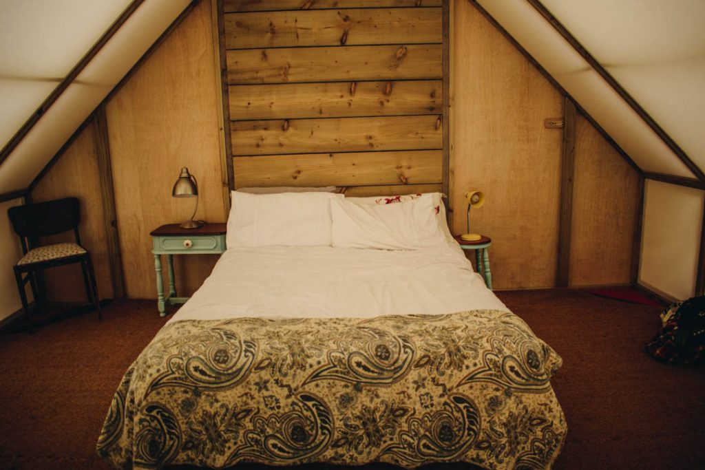 glamping at the grove killarney, yurt, bed, decor, shabby chic