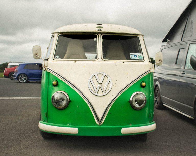 green vw camper hippie van