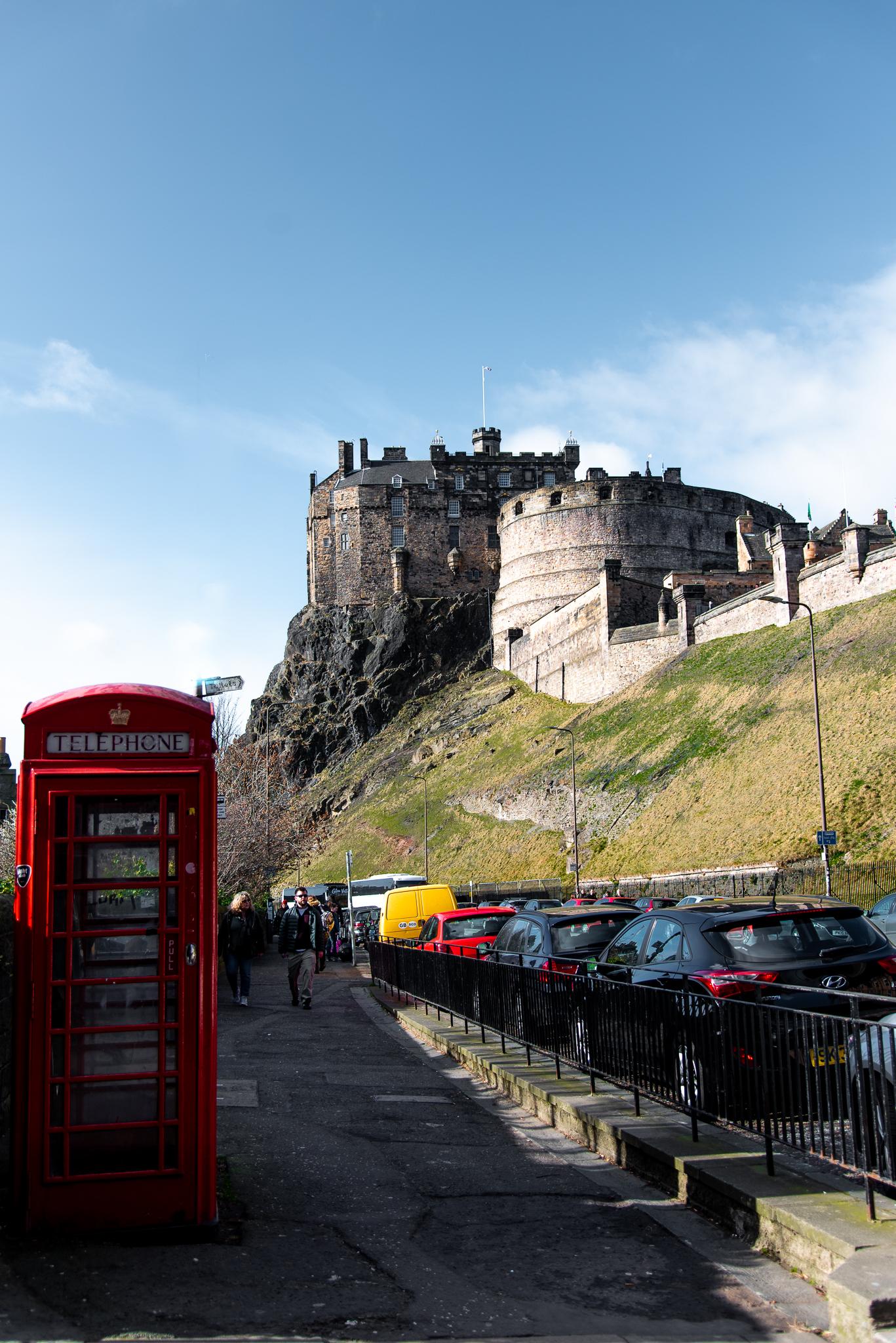 scotland, edinburgh, castle, phone box, uk, scotland
