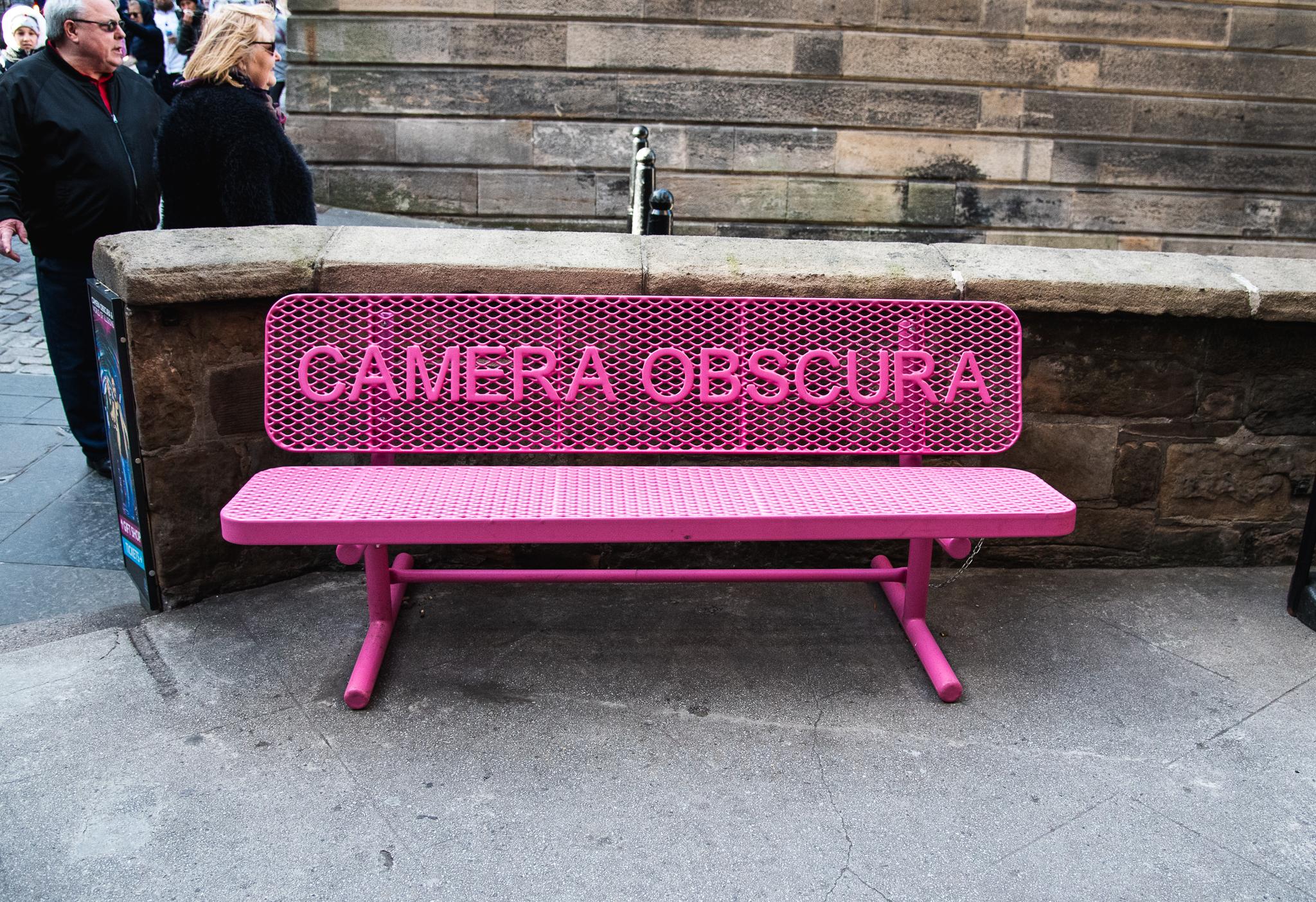 camera obscura, museum, edinburgh, illusions, scotland, tourist attraction edinburgh, pink bench