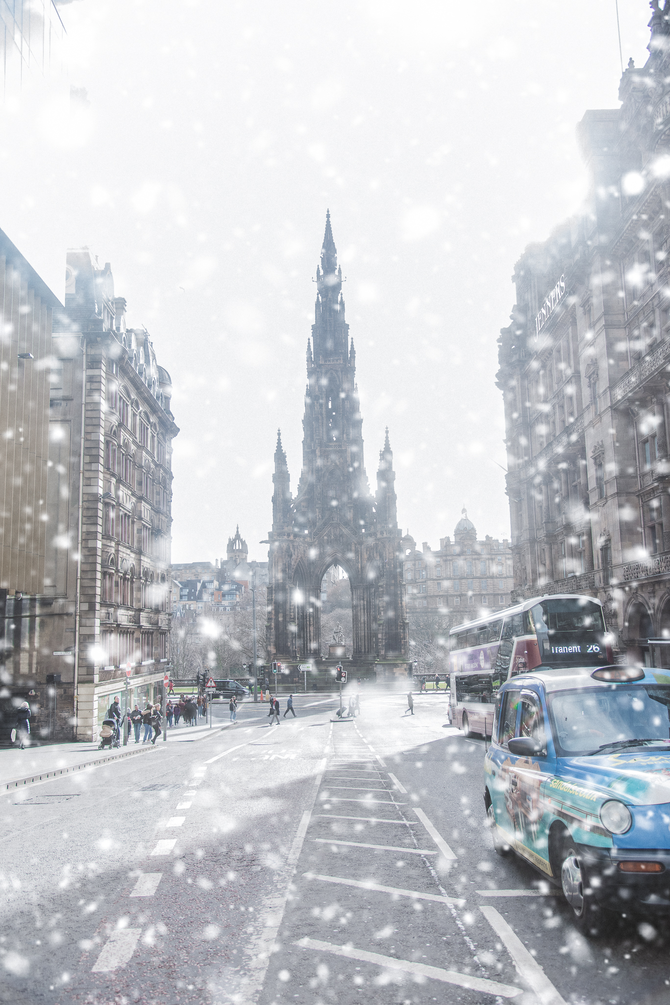 sir walter scott, monument, edinburgh, scotland, snow, architecture