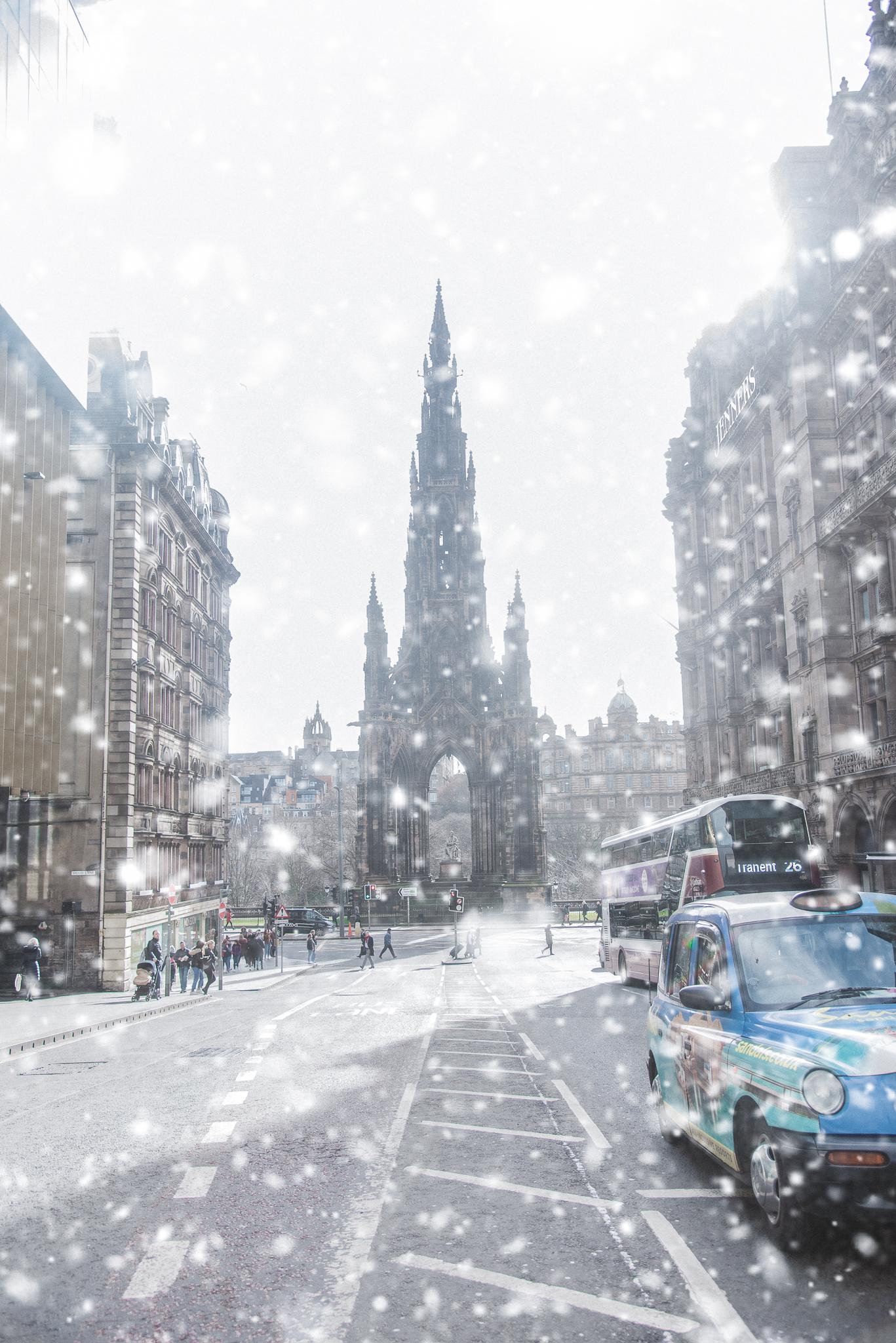 sir walter scott, monument, edinburgh, scotland, snow, architecture