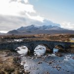 sligachan old bridge, isle of skye, scotland, roadtrip, mountains, river, bridge