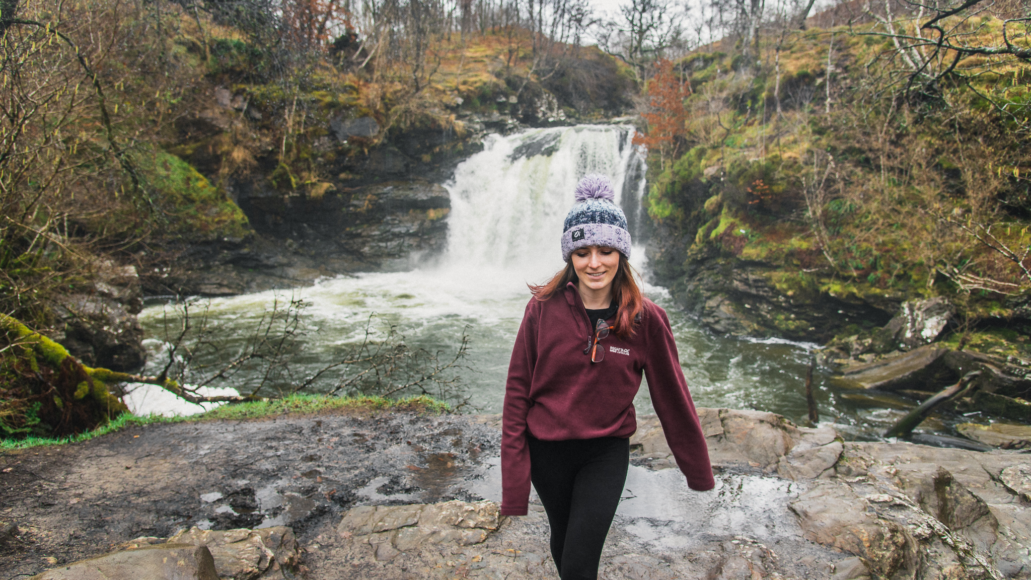 tinyboots, falls of falloch, scotland, waterfall, blogger