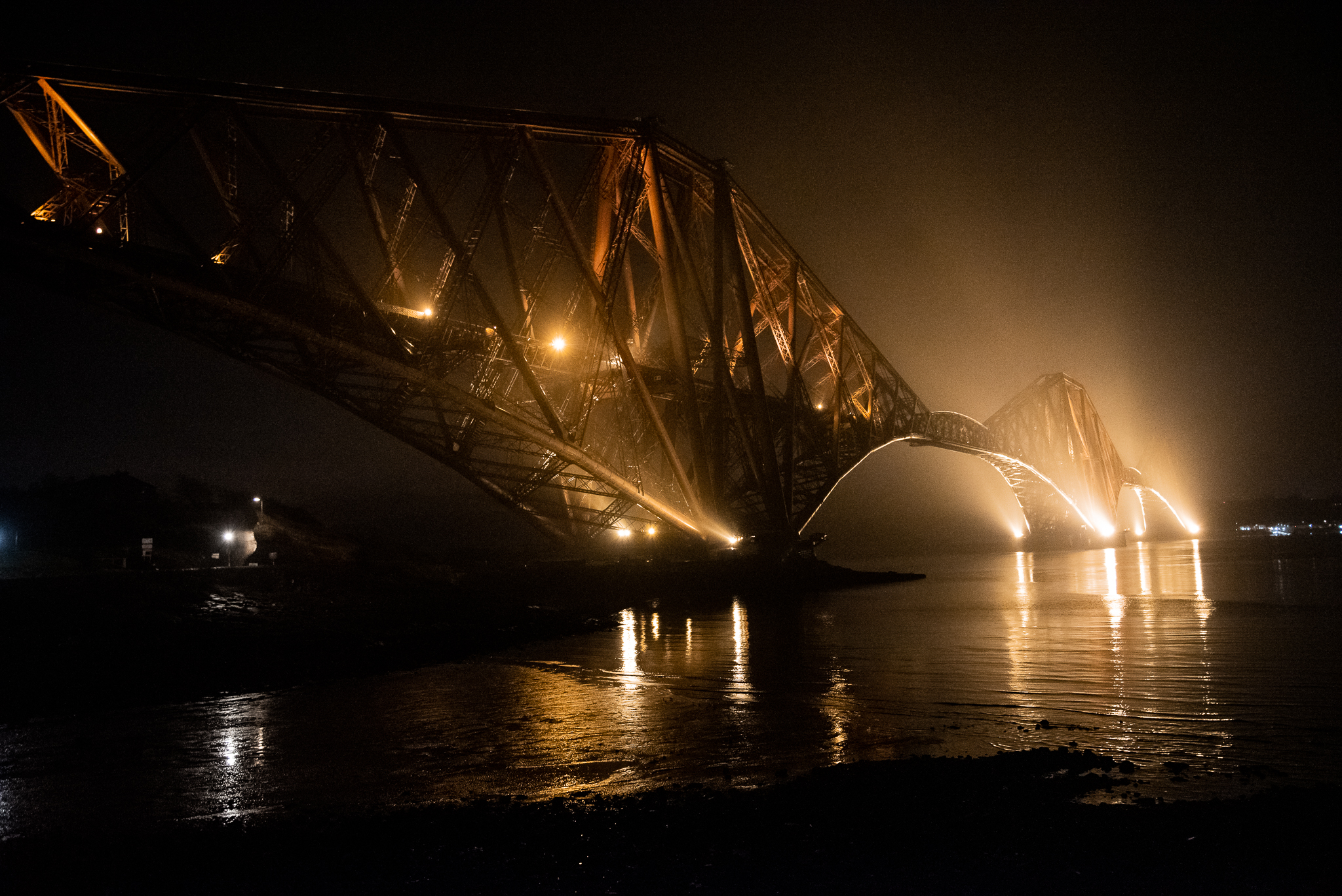 forth road bridge, east, edinburgh, scotland, night photography, bridge, architecture