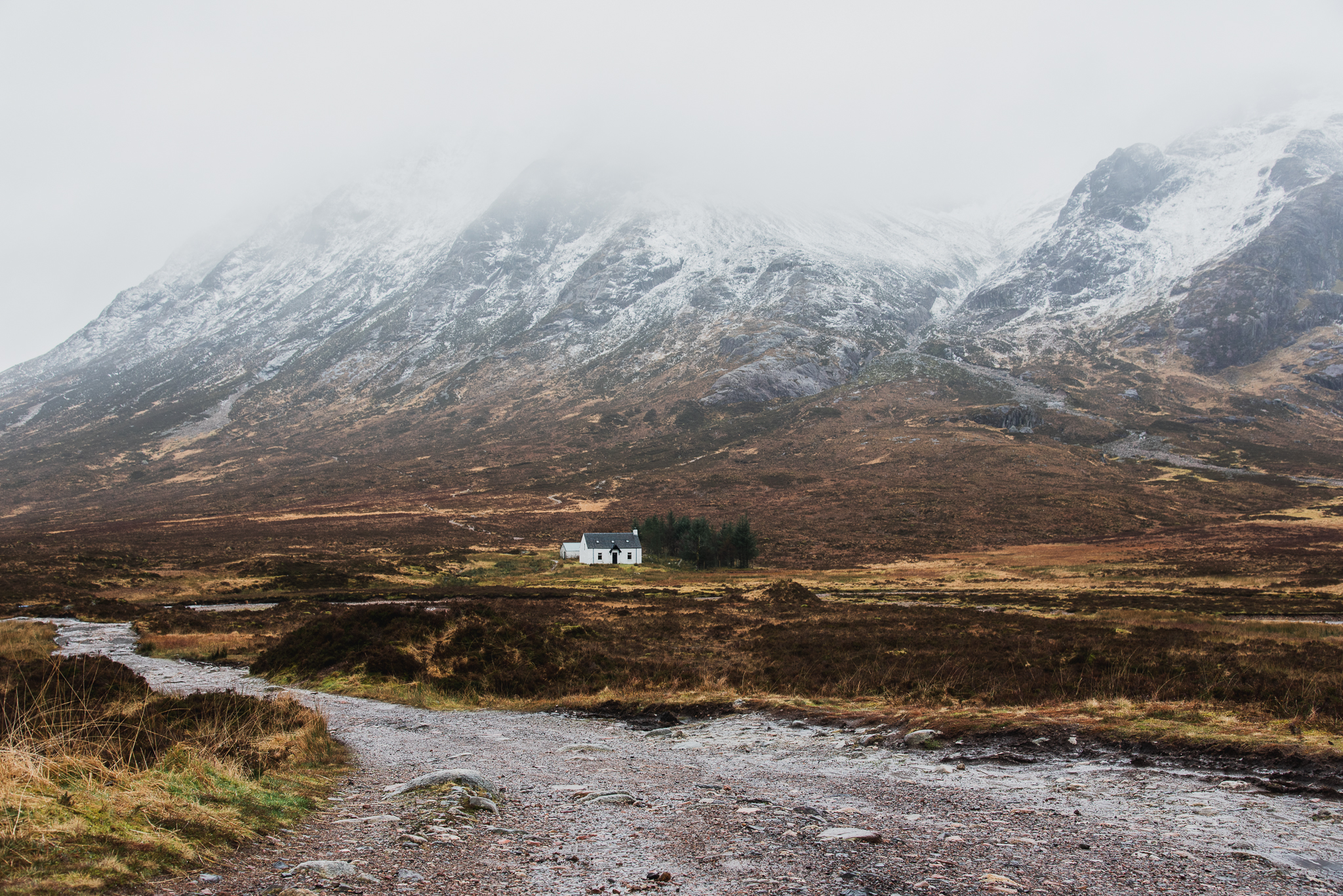 glencoe, scotland, landscape, photogrpahy, wilderness, mountains, cottage, snow