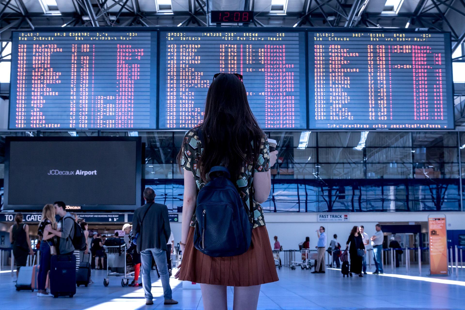 girl in airport, plane, flight