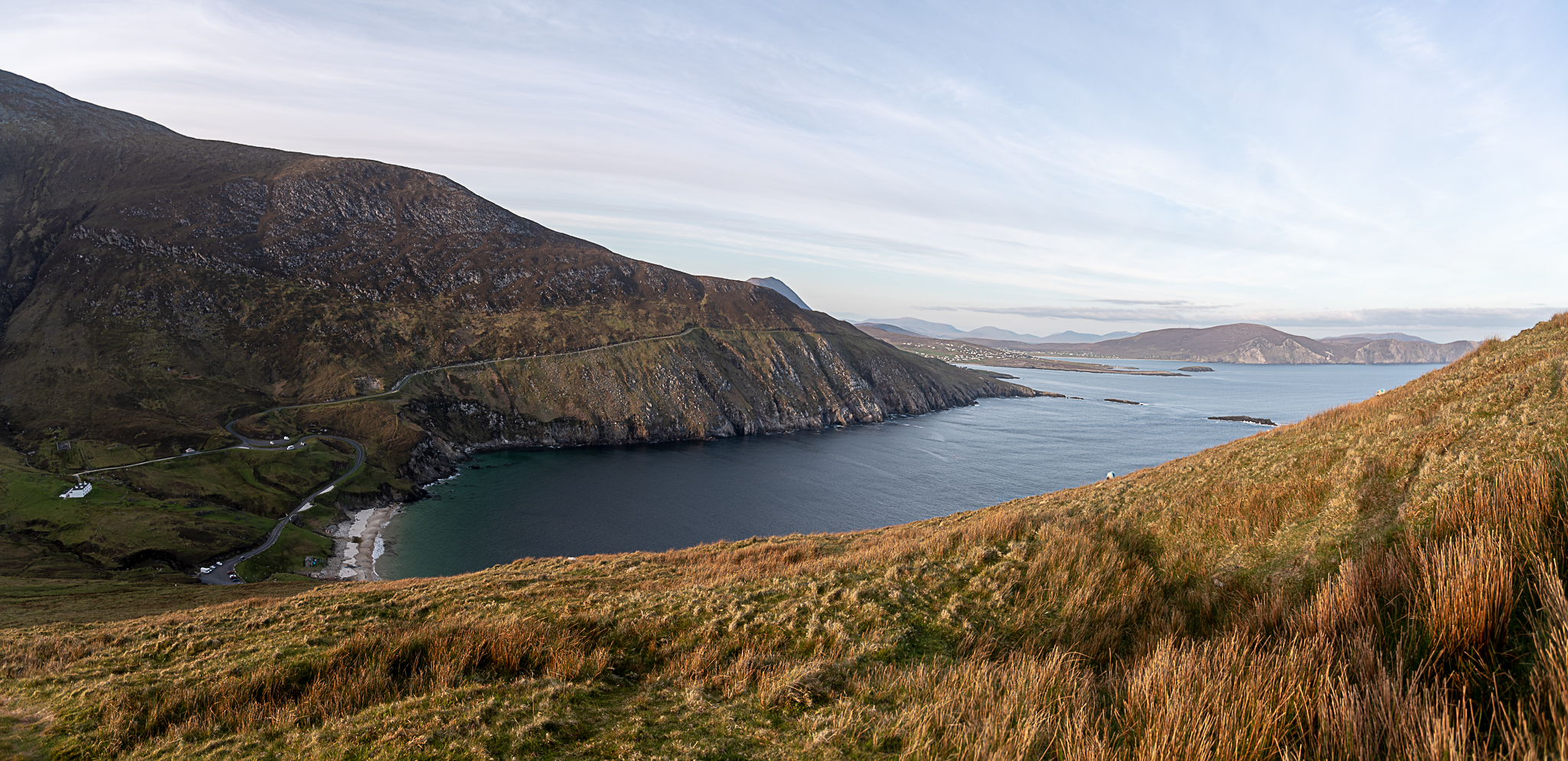 tinyboots, wild atlantic way, achill, ocean, cliffs, coastline, ireland, keem bay, sunset