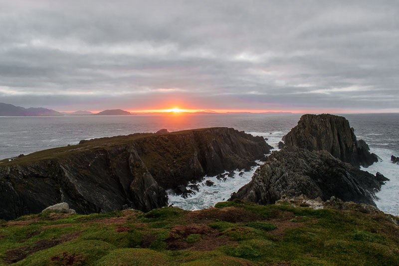 malin head, cliffs, water, sunset, ireland