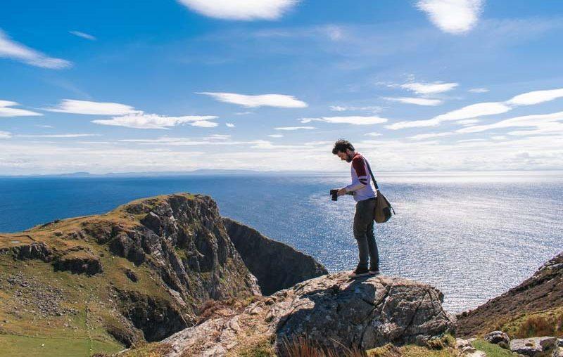 boy, cliffs, blue sky, cliffs in ireland, slieve league