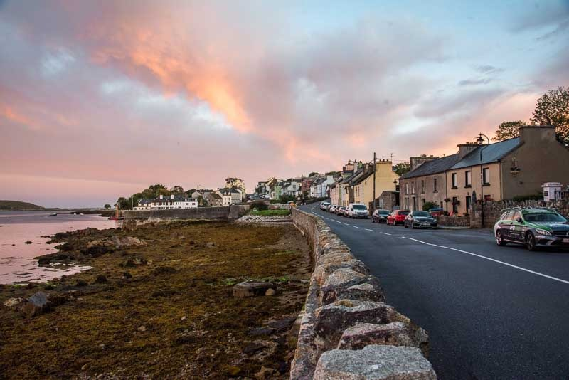 galway villages, galway towns, roundstone, fishing village ireland, colourfull houses, sunset